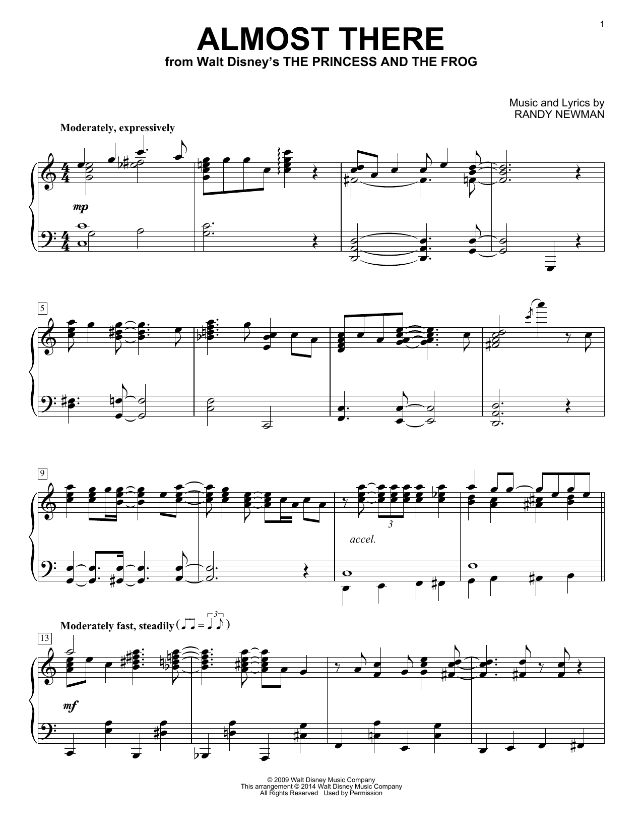 Almost There (from The Princess and the Frog) (Piano Solo)