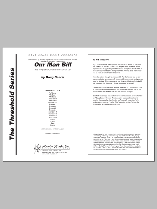 Our Man Bill (COMPLETE) sheet music for jazz band by Doug Beach. Score Image Preview.