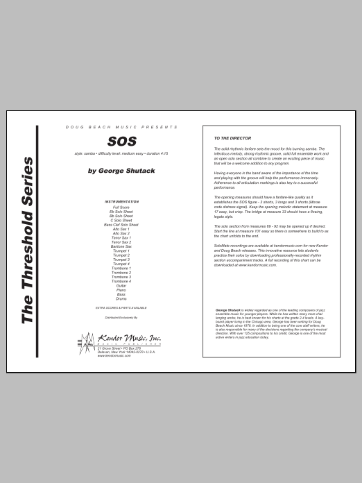 SOS (COMPLETE) sheet music for jazz band by George Shutack. Score Image Preview.