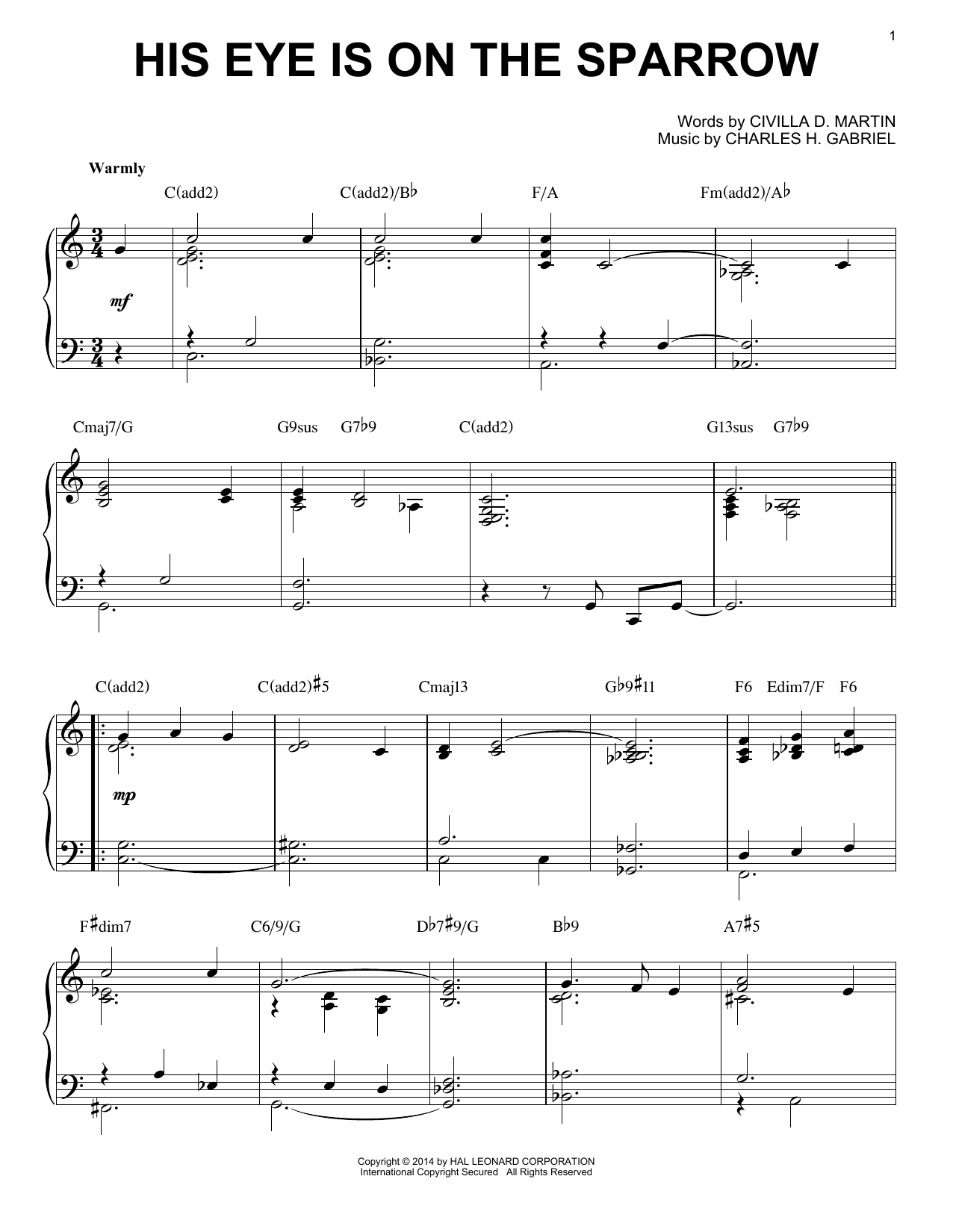 His Eye Is On The Sparrow [Jazz version] (arr. Brent Edstrom) (Piano Solo)