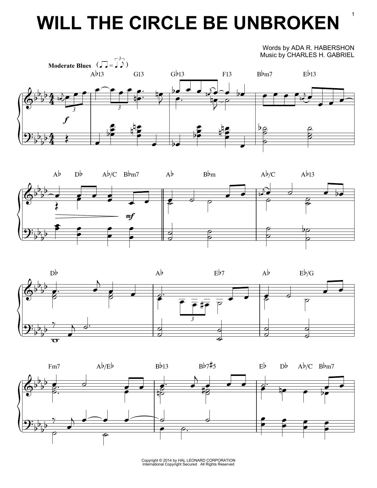Partition piano Will The Circle Be Unbroken de Charles H. Gabriel - Piano Solo