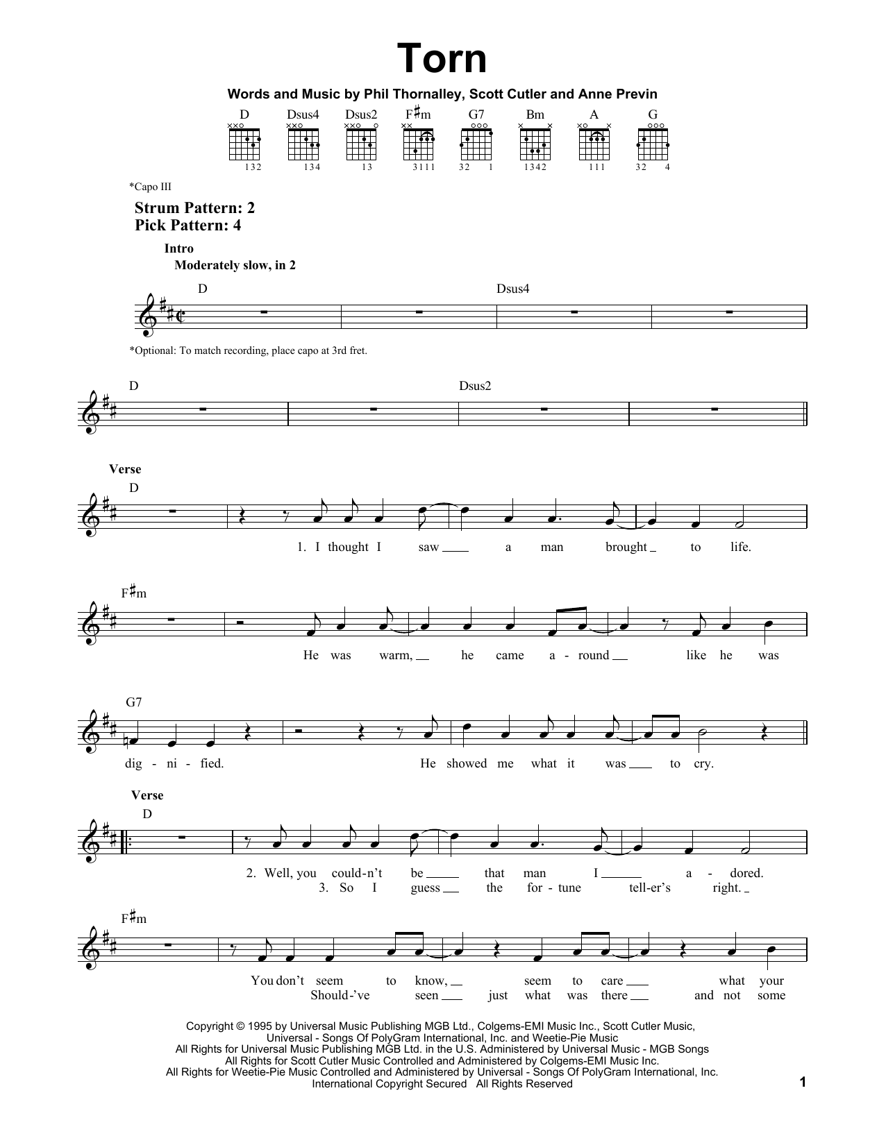 Tablature guitare Torn de Natalie Imbruglia - Tablature guitare facile
