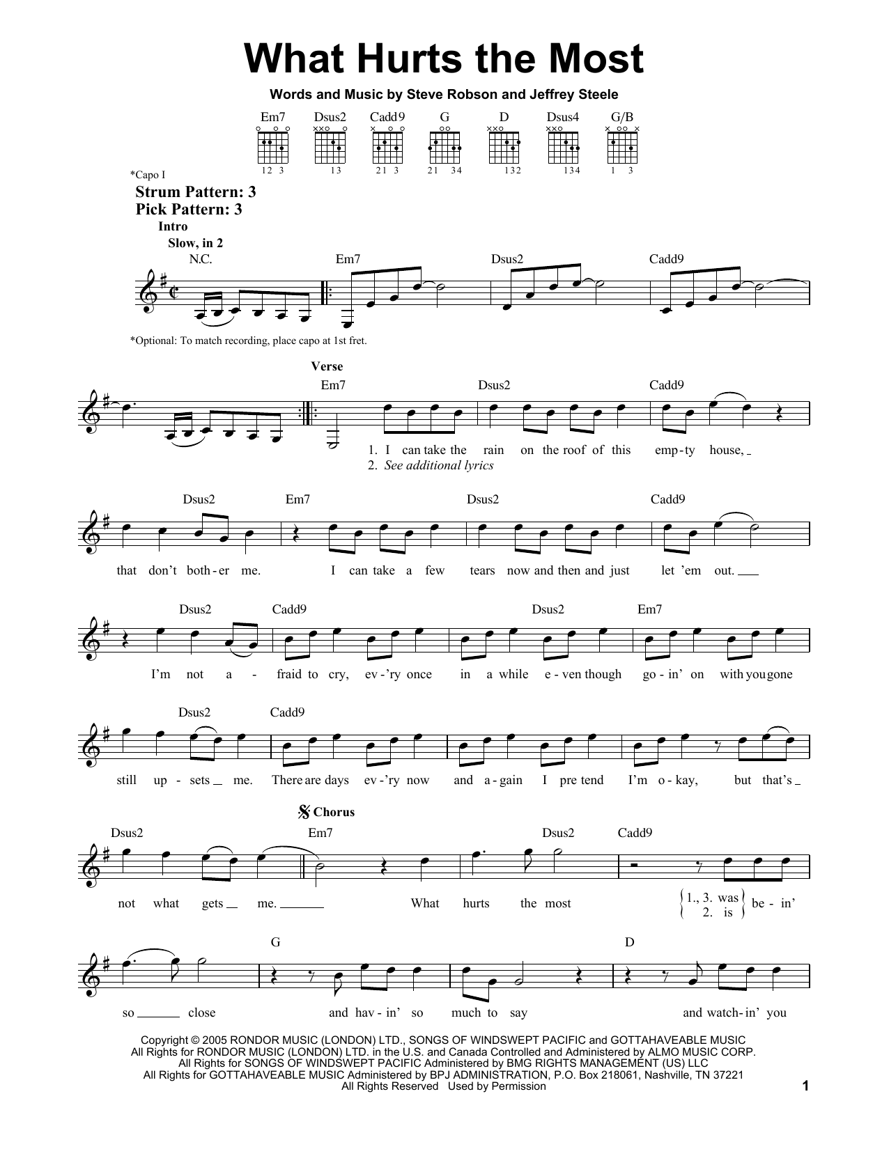 Tablature guitare What Hurts The Most de Rascal Flatts - Tablature guitare facile