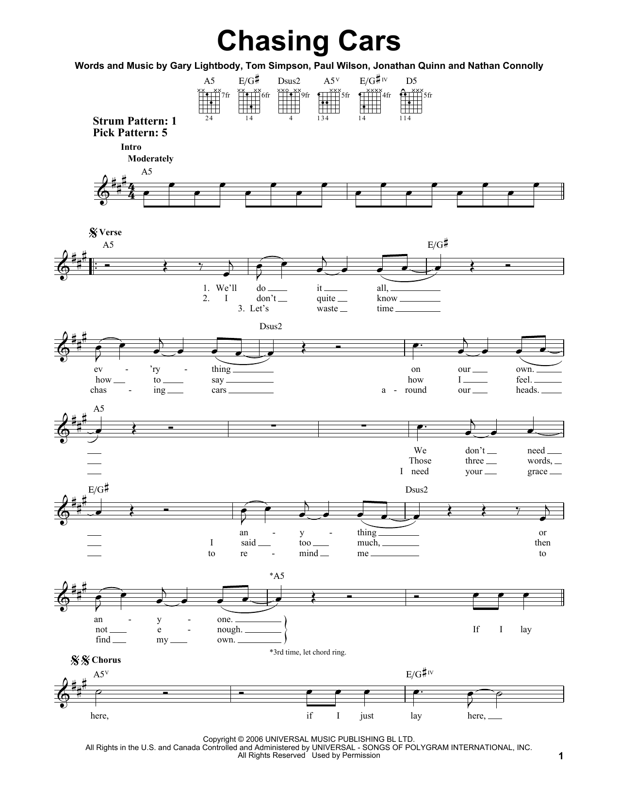 Chasing Cars Sheet Music Snow Patrol Easy Guitar