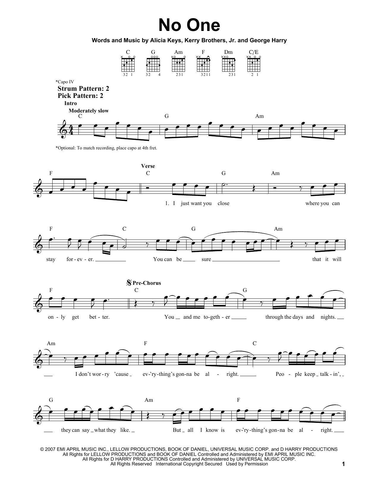 Tablature guitare No One de Alicia Keys - Tablature guitare facile
