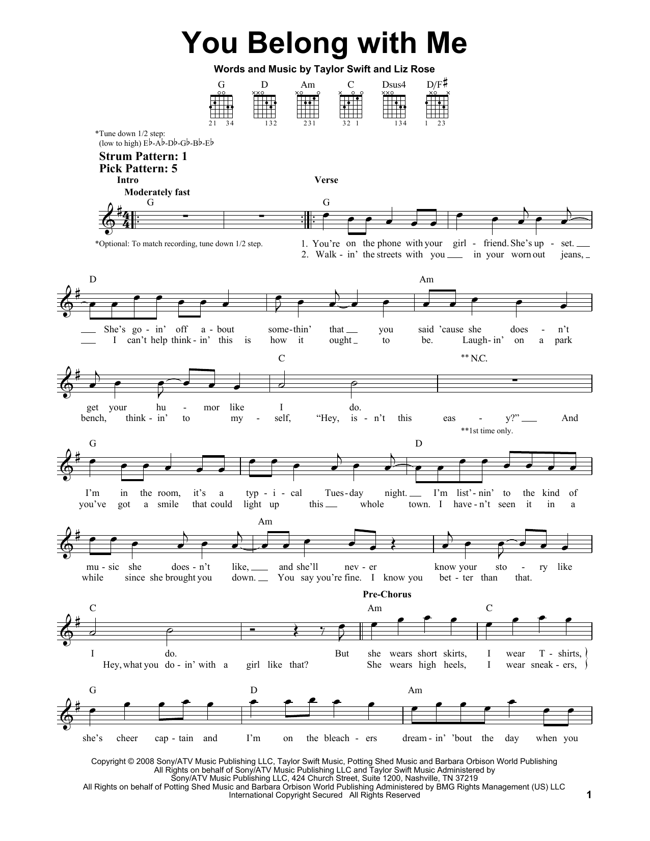Tablature guitare You Belong With Me de Taylor Swift - Tablature guitare facile