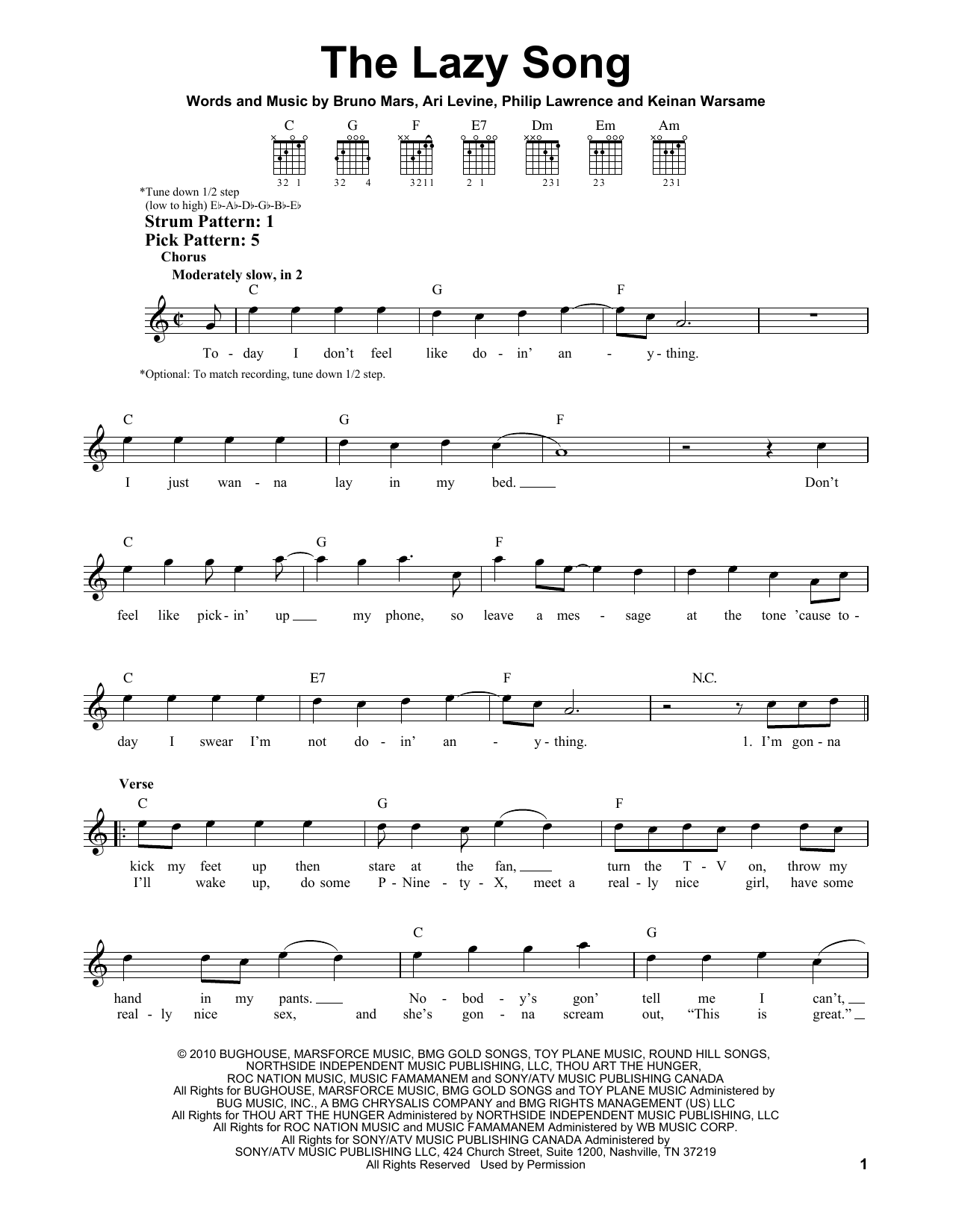 The Lazy Song Sheet Music