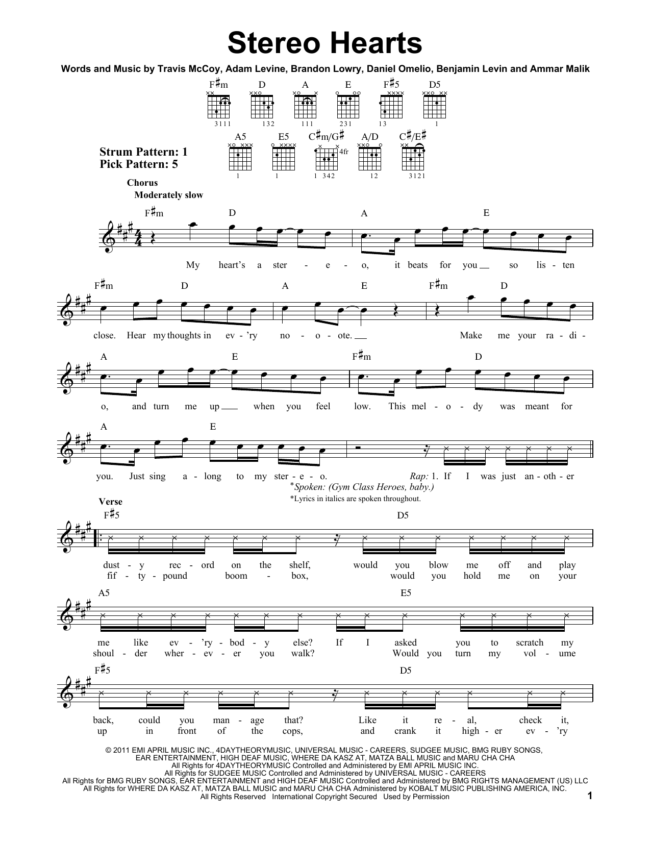 Stereo Hearts (feat. Adam Levine) sheet music by Gym Class ...