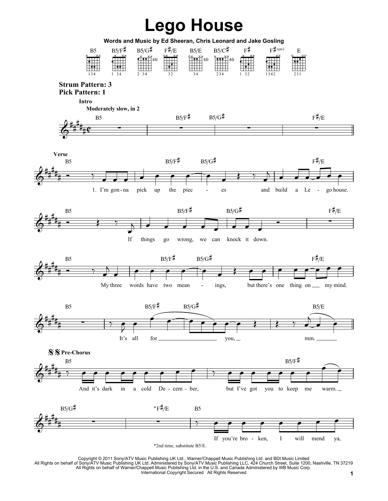 Lego House Sheet Music