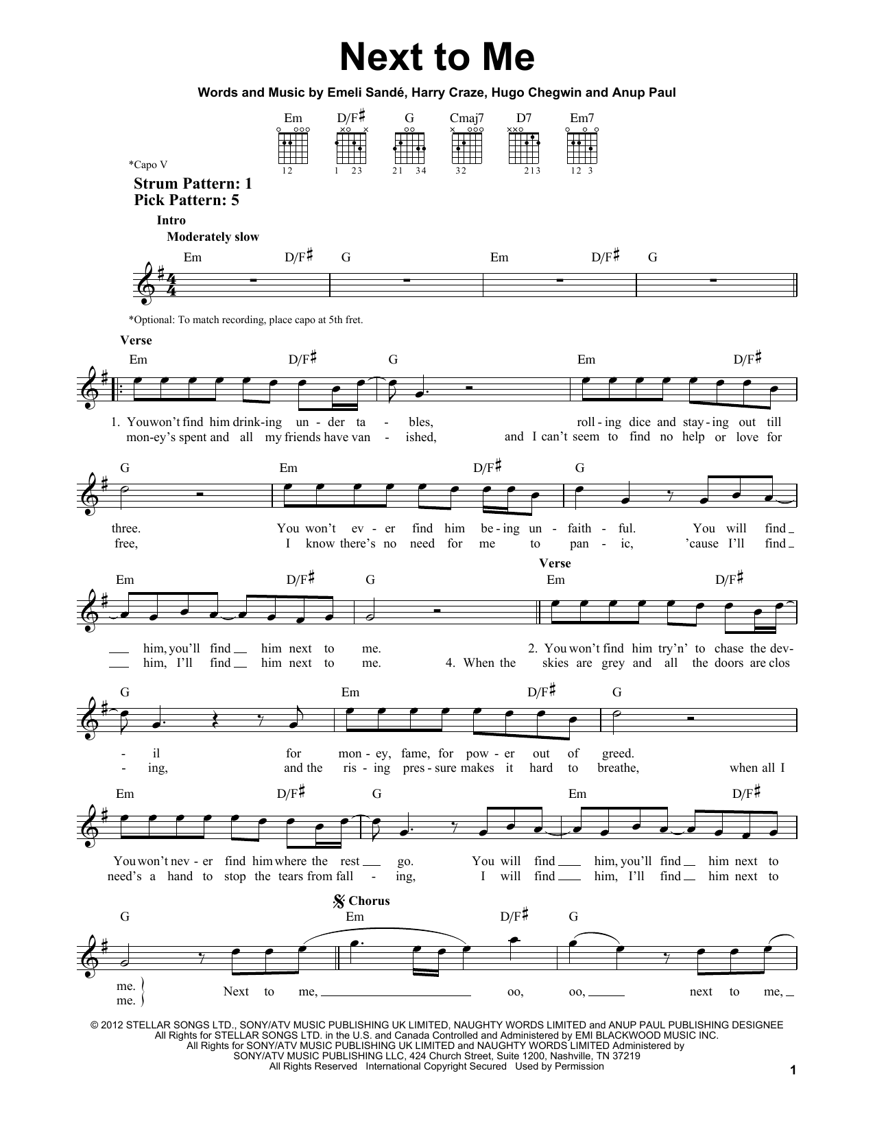 Tablature guitare Next To Me de Emeli Sande - Tablature guitare facile