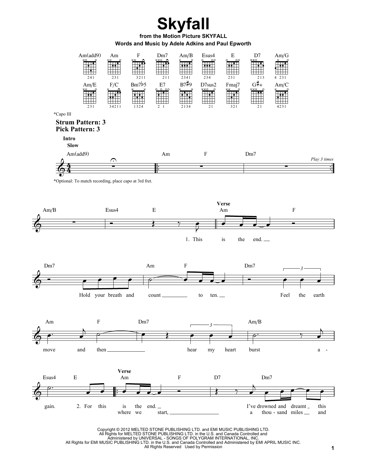 Tablature guitare Skyfall de Adele - Tablature guitare facile