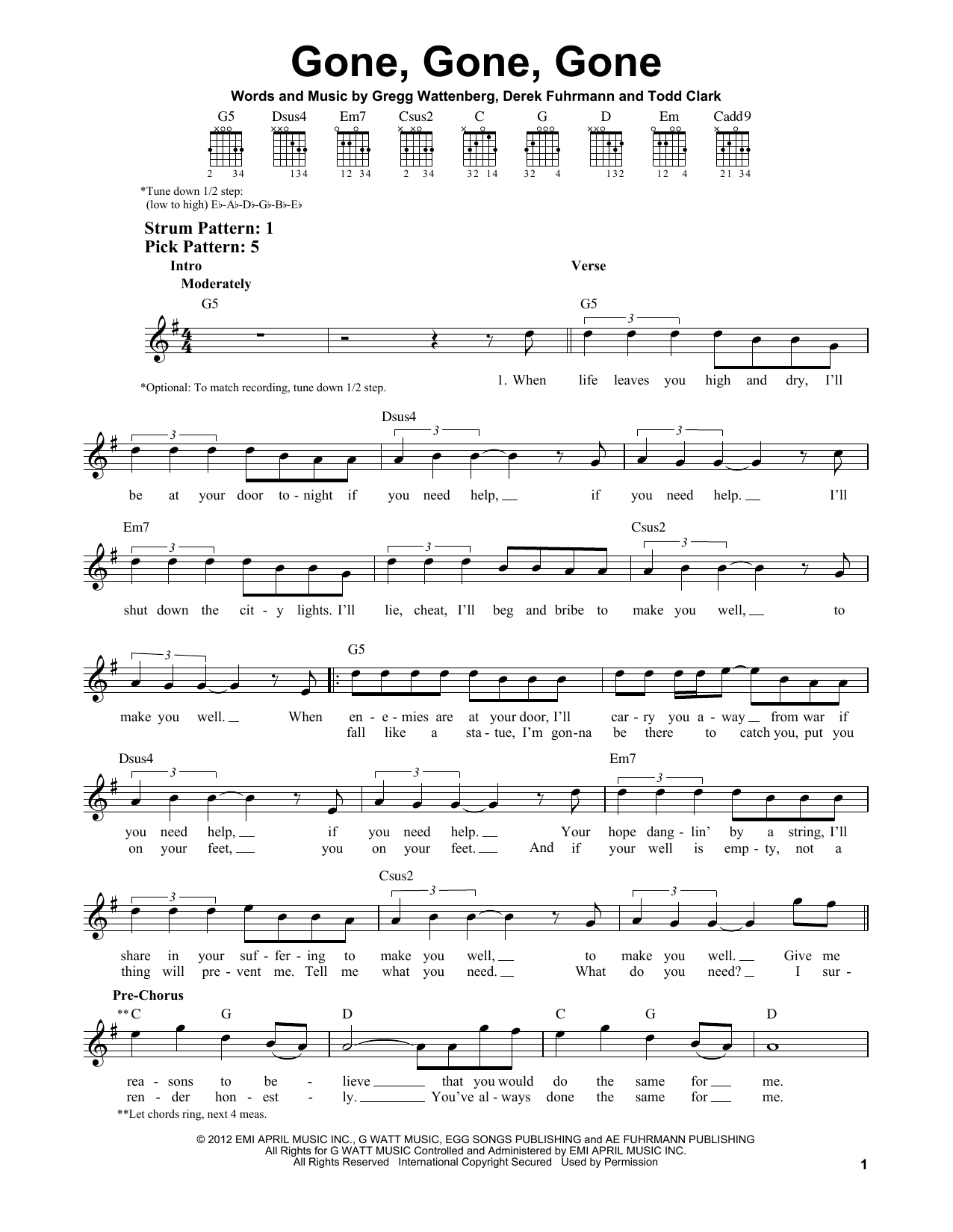 Tablature guitare Gone, Gone, Gone de Phillip Phillips - Tablature guitare facile