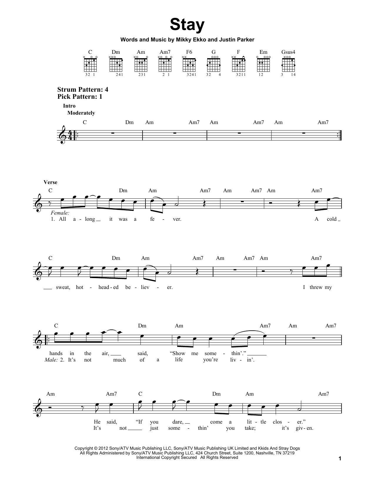 Tablature guitare Stay de Rihanna - Tablature guitare facile