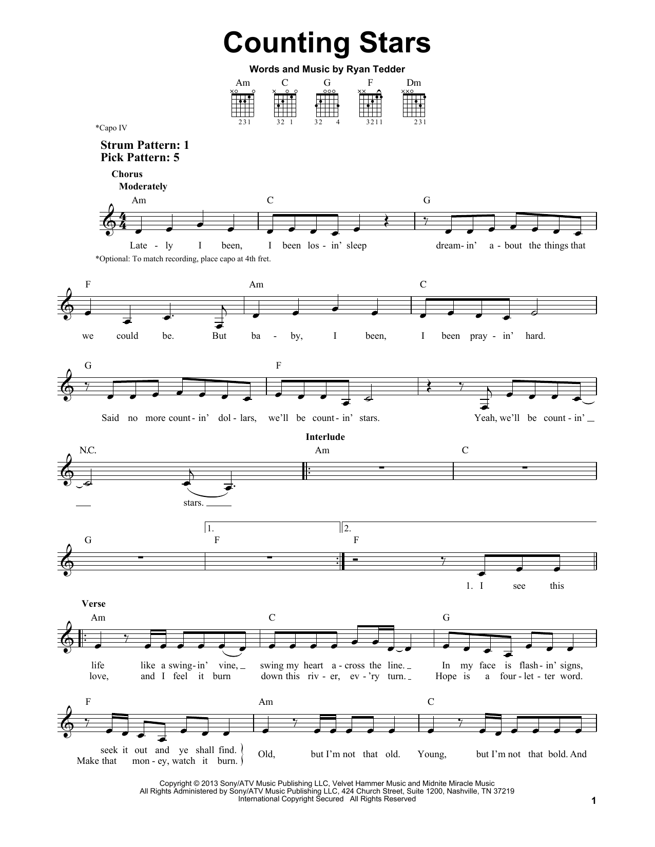 Counting Stars : Sheet Music Direct