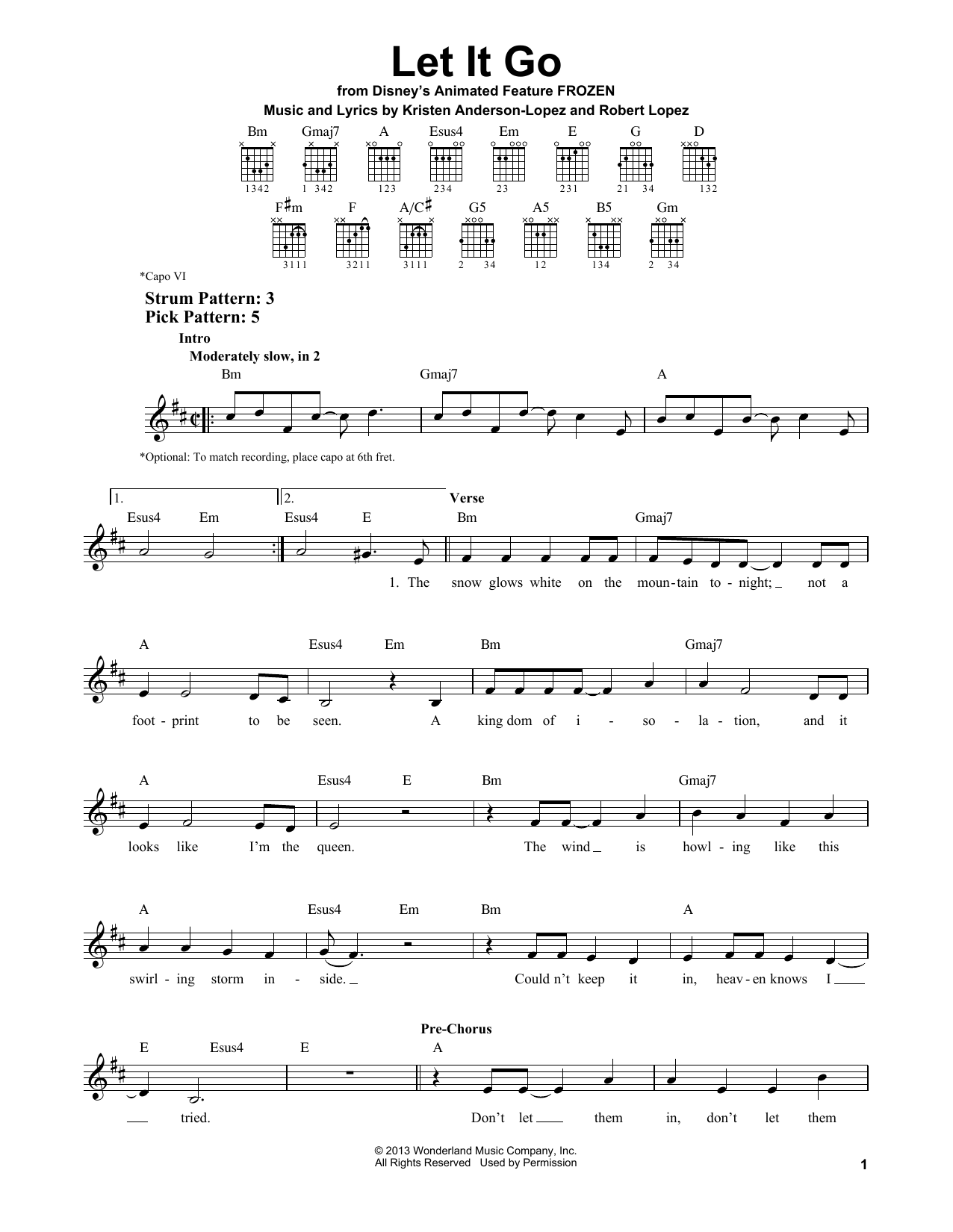 Tablature guitare Let It Go (from Frozen) de Idina Menzel - Tablature guitare facile