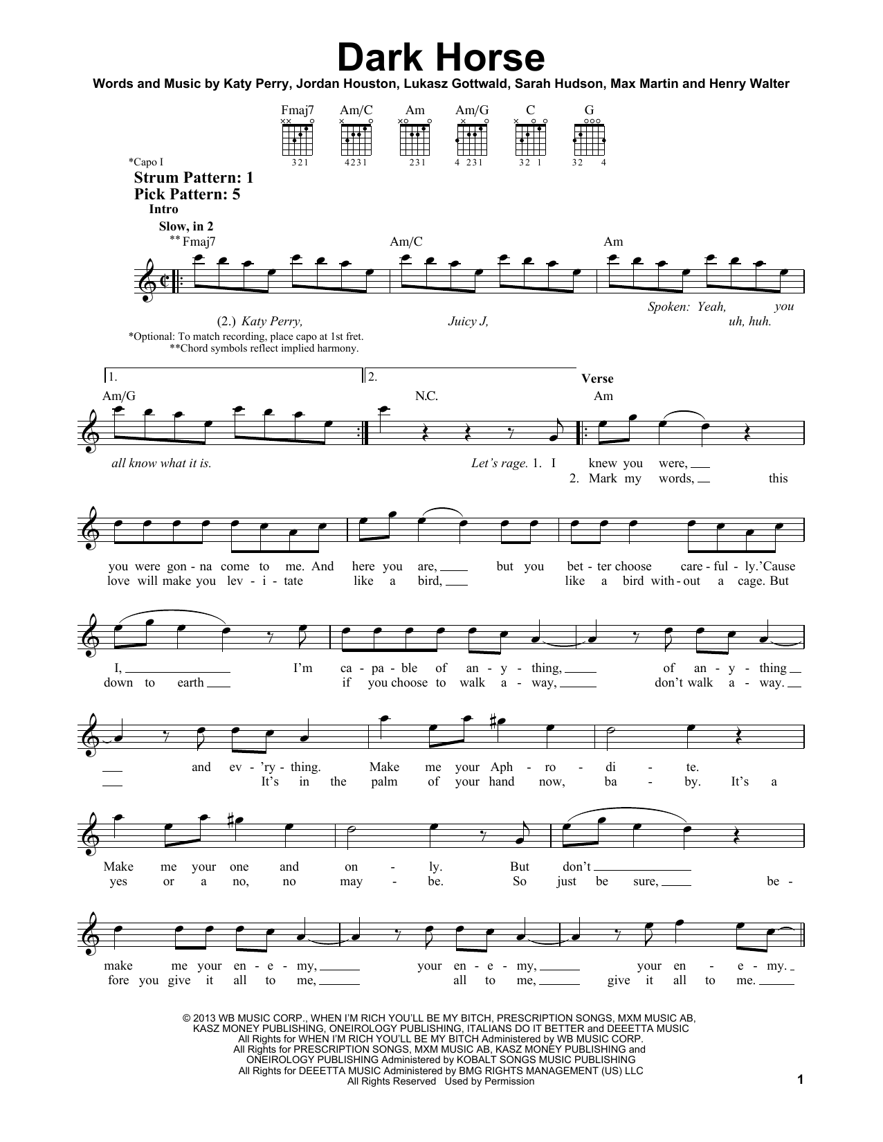 Tablature guitare Dark Horse de Katy Perry - Tablature guitare facile