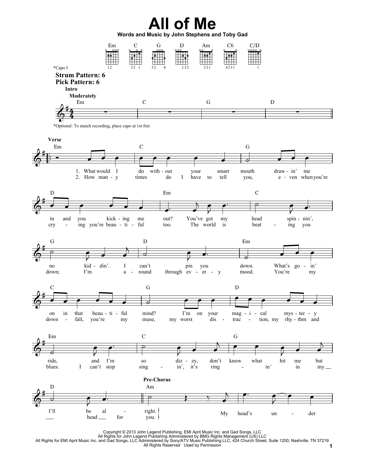 Tablature guitare All Of Me de John Legend - Tablature guitare facile