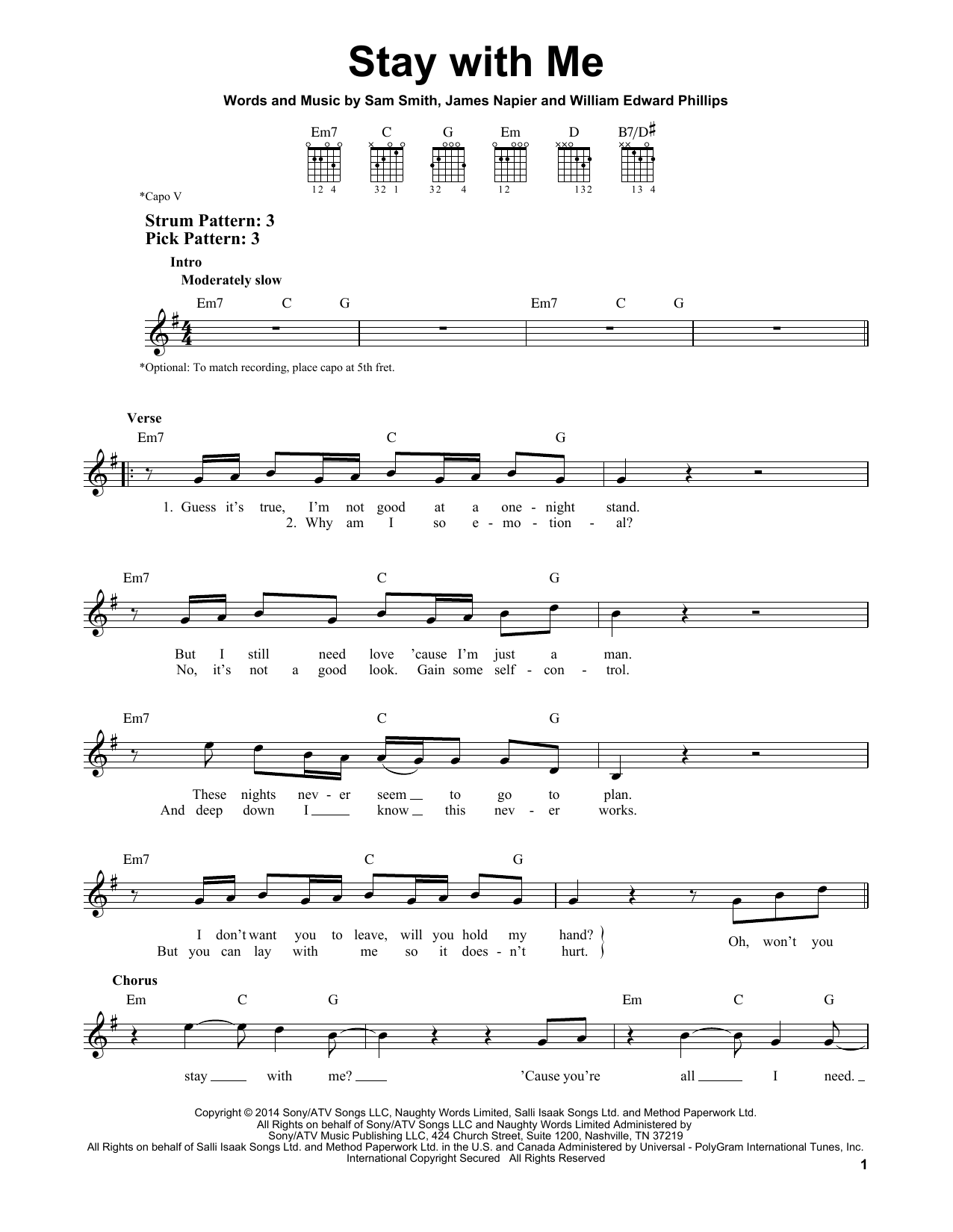 Tablature guitare Stay With Me de Sam Smith - Tablature guitare facile