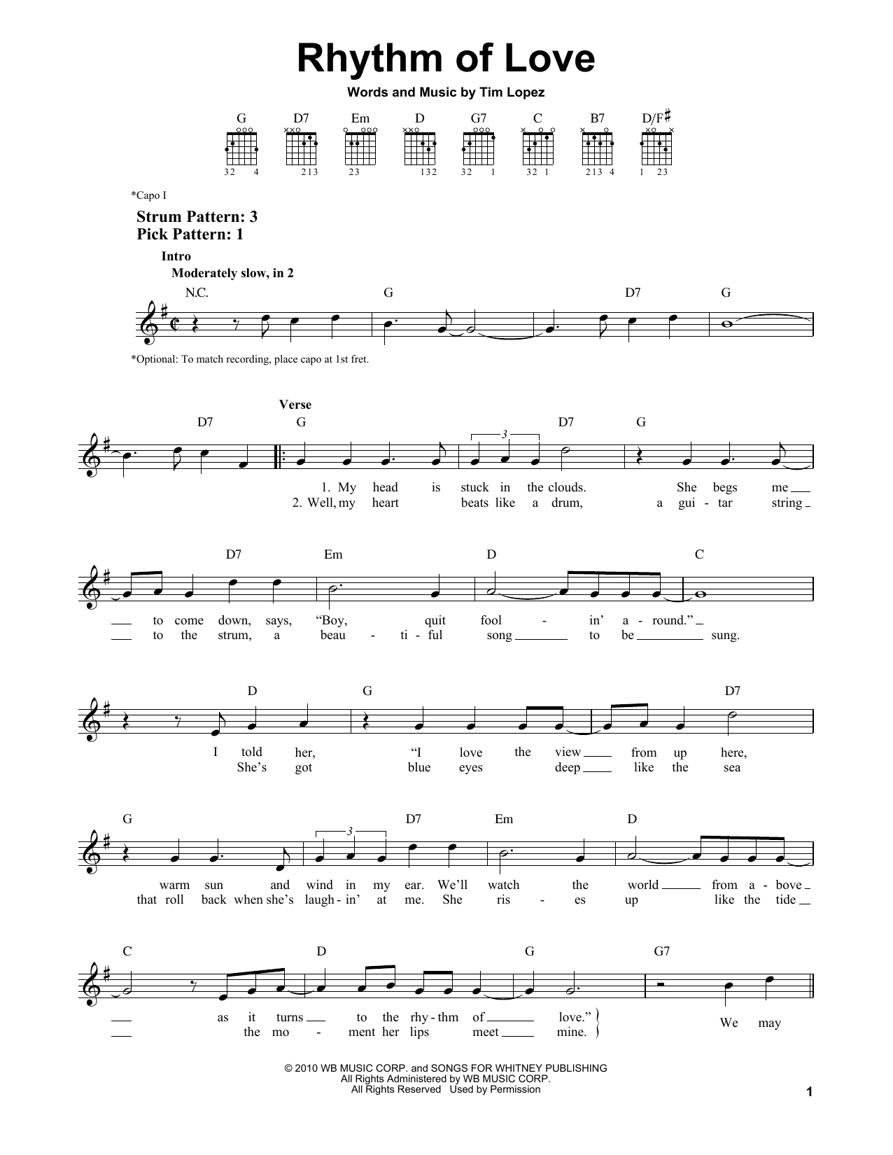 Rhythm Of Love Sheet Music