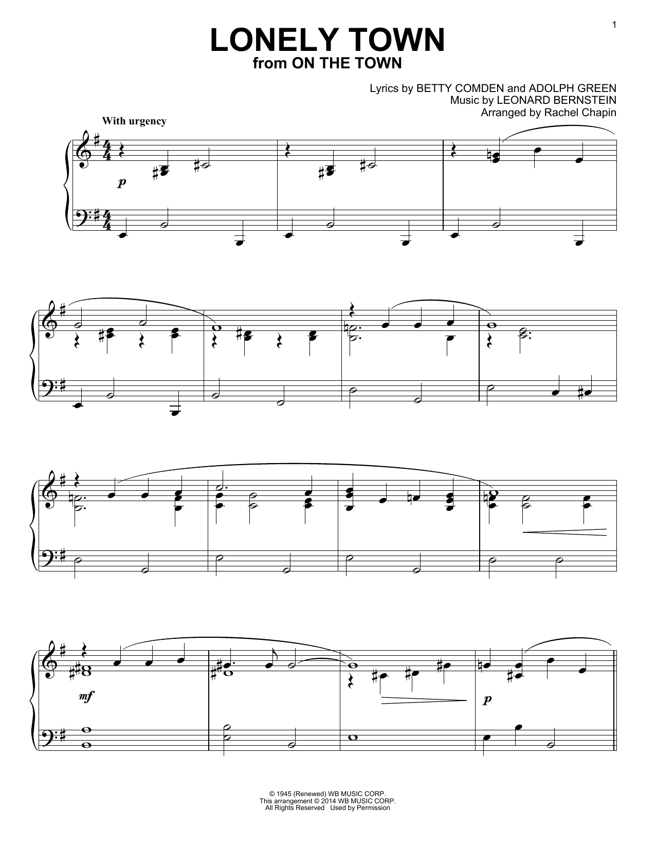 Lonely Town (from On The Town) Sheet Music