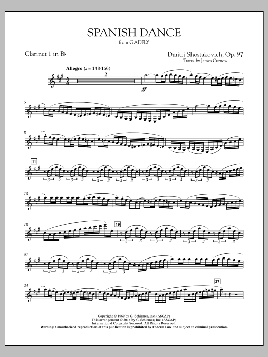 Spanish Dance (from The Gadfly) - Bb Clarinet 1 (Concert Band)