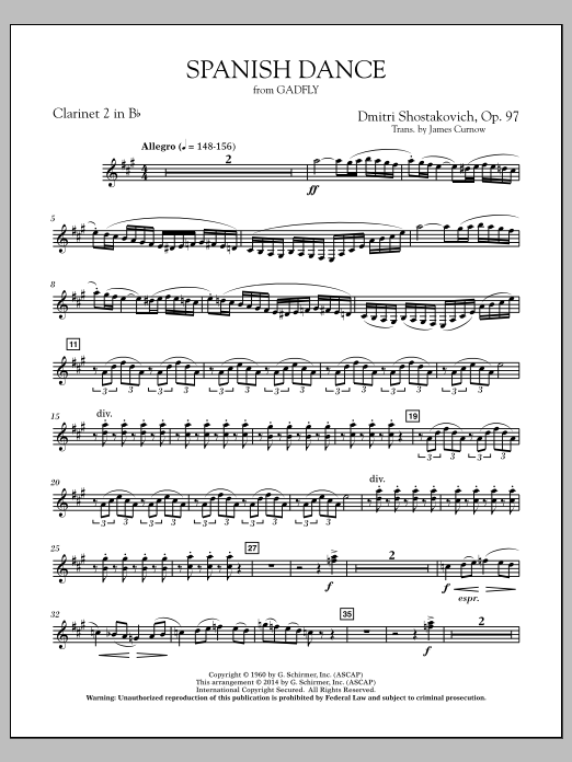 Spanish Dance (from The Gadfly) - Bb Clarinet 2 (Concert Band)