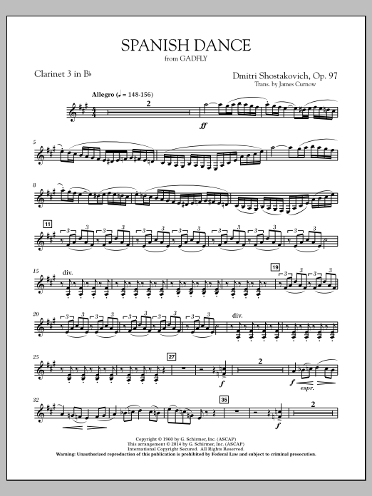 Spanish Dance (from The Gadfly) - Bb Clarinet 3 (Concert Band)