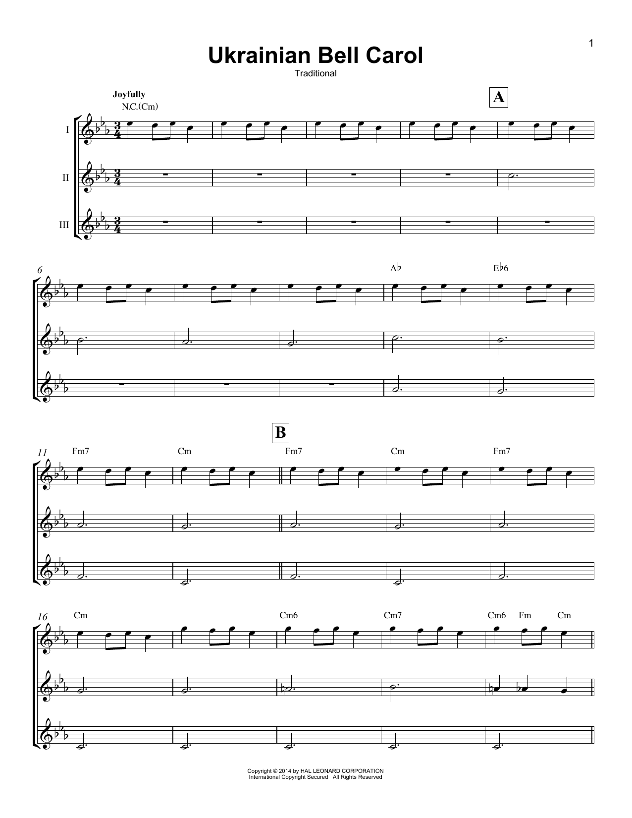 Ukrainian Bell Carol Sheet Music