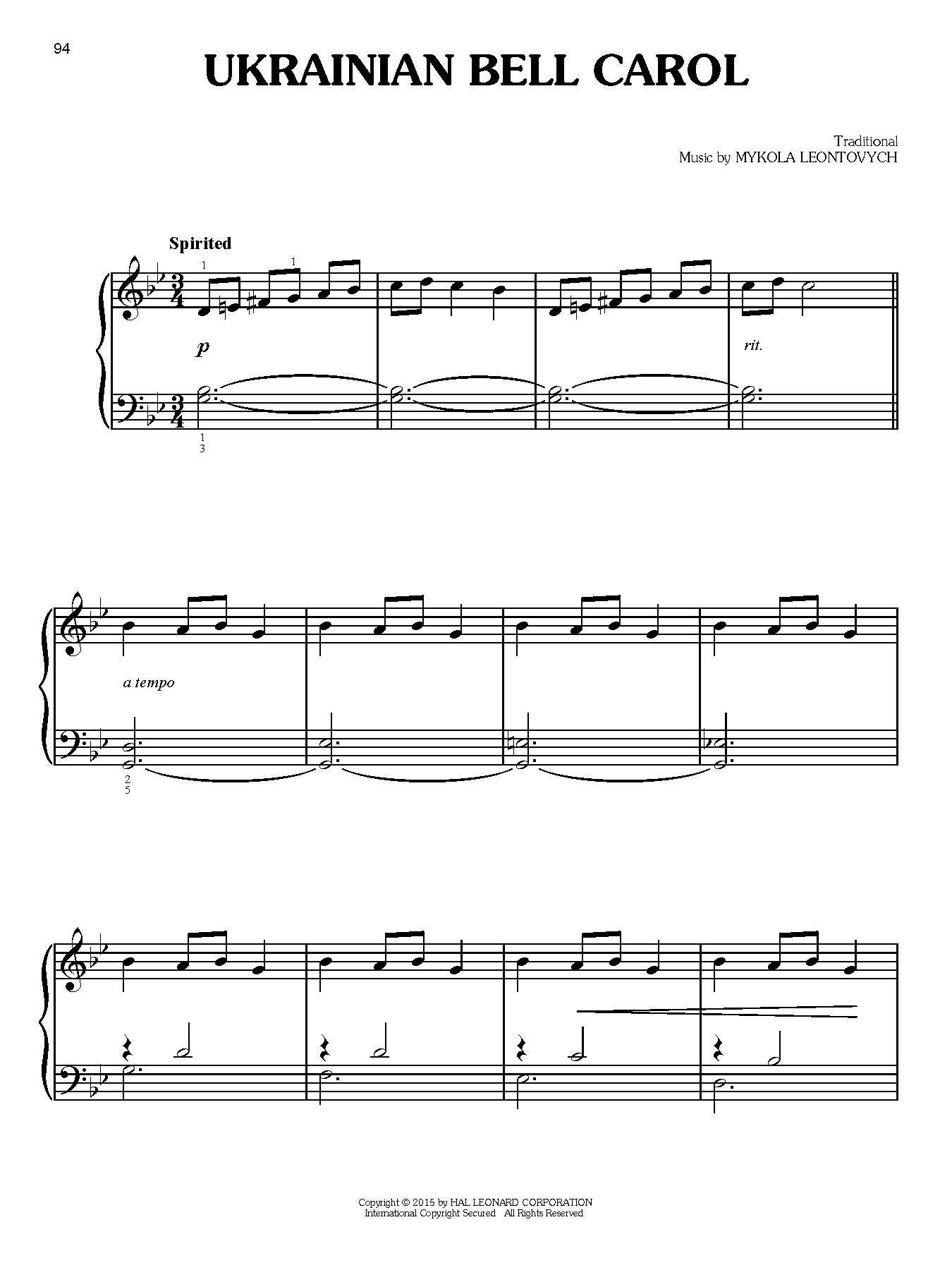 Ukrainian Bell Carol (Easy Piano)