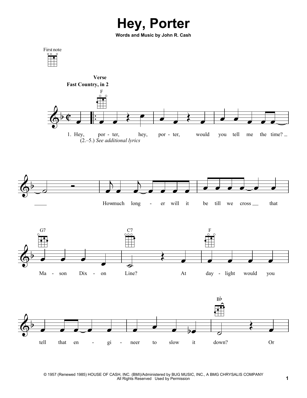 Tablature guitare Hey, Porter de Johnny Cash - Ukulele