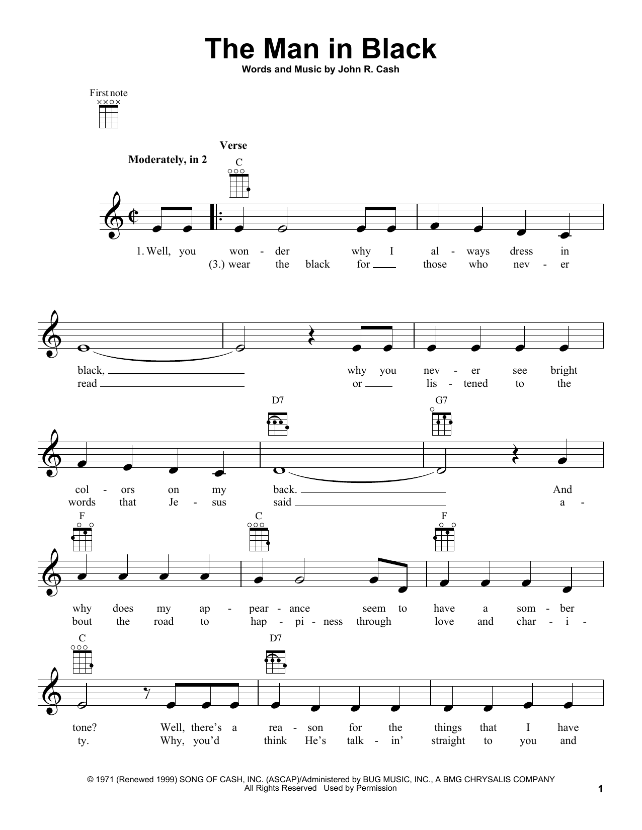 Tablature guitare The Man In Black de Johnny Cash - Ukulele