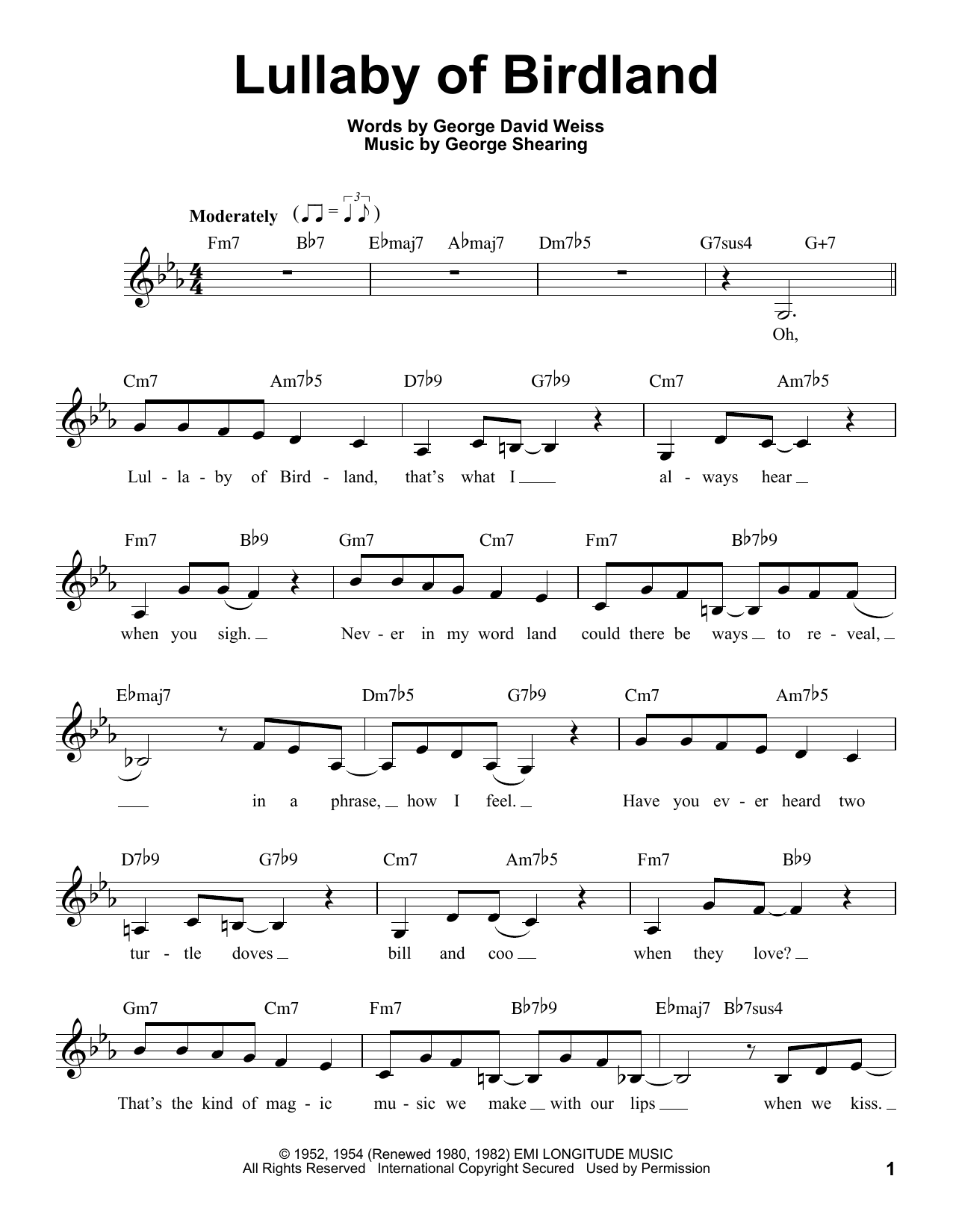 Lullaby Of Birdland Sheet Music