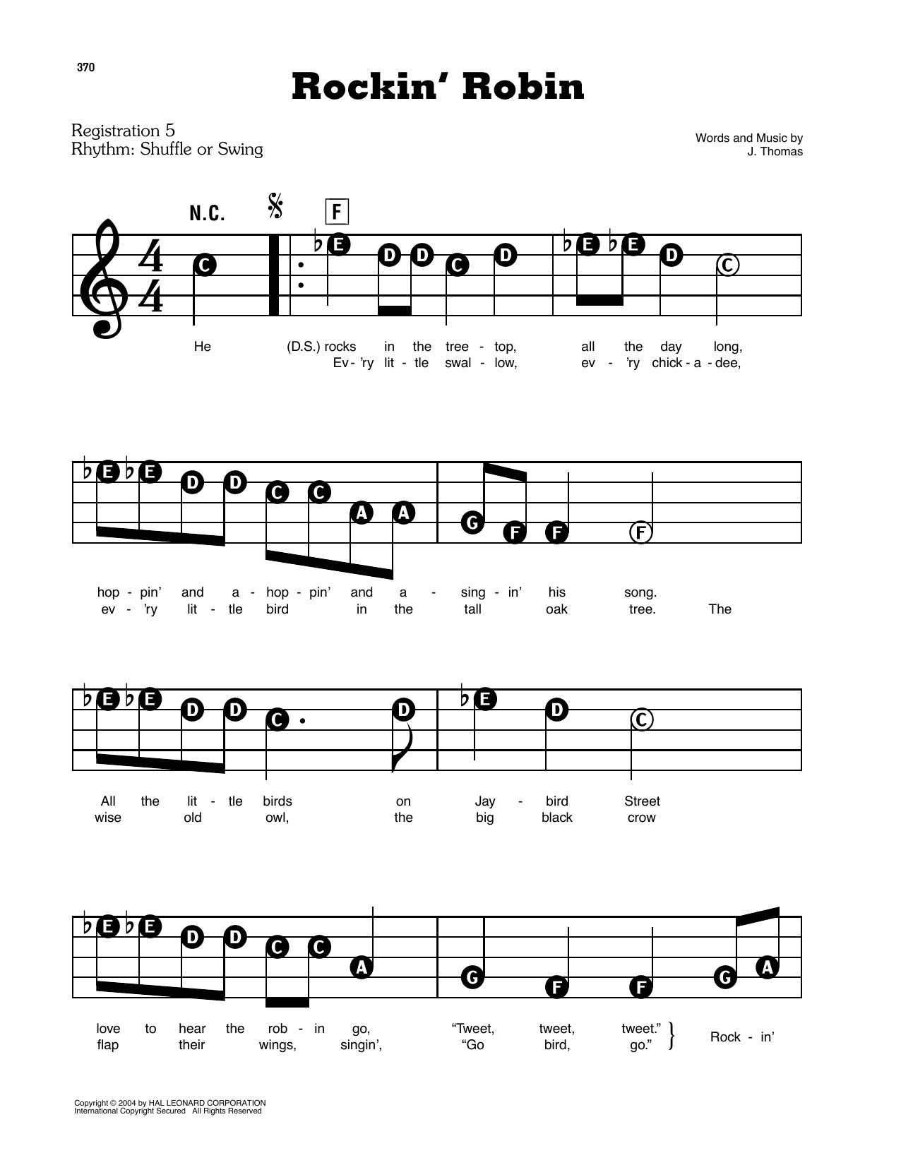 Rockin' Robin (E-Z Play Today)