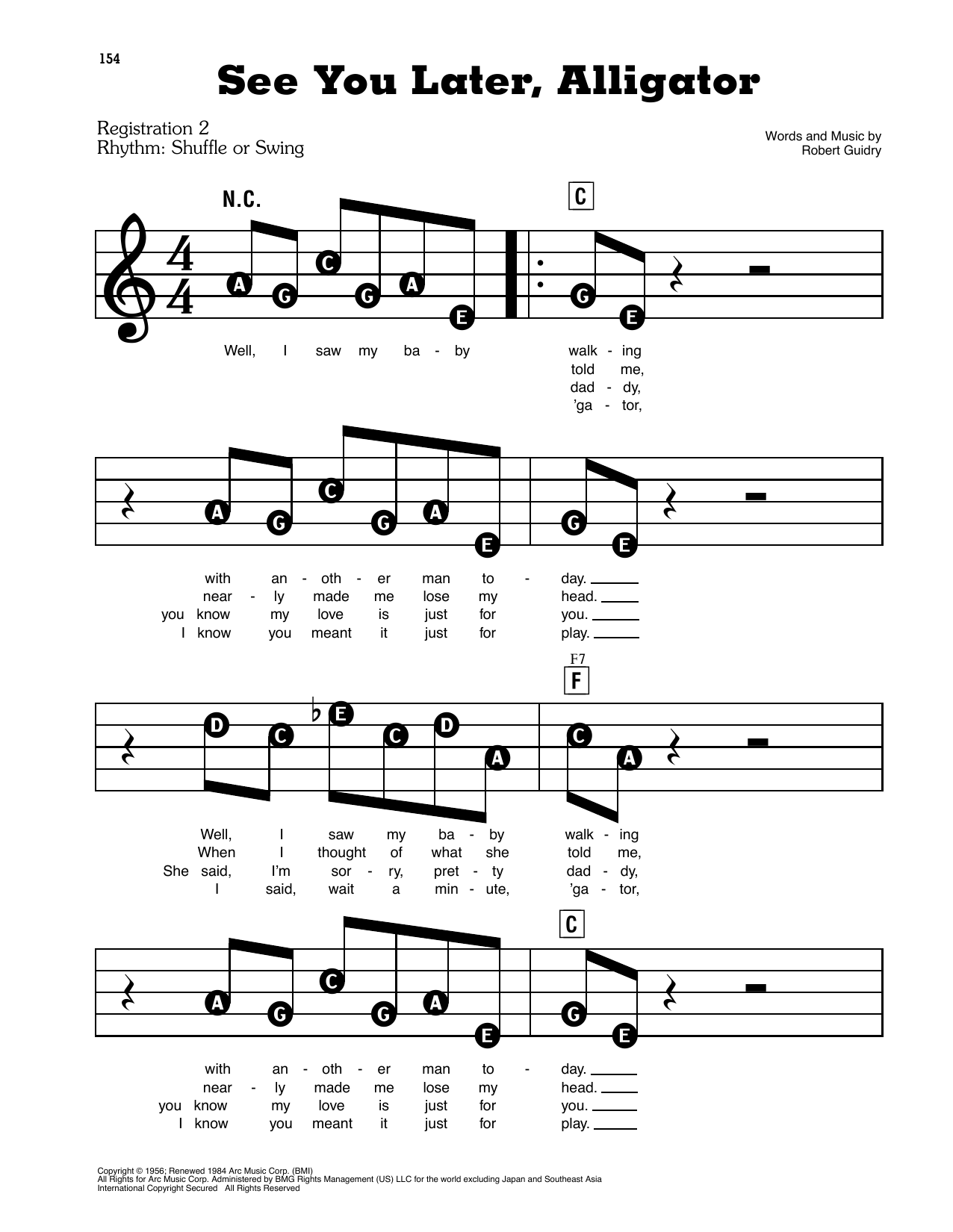 See You Later, Alligator Sheet Music