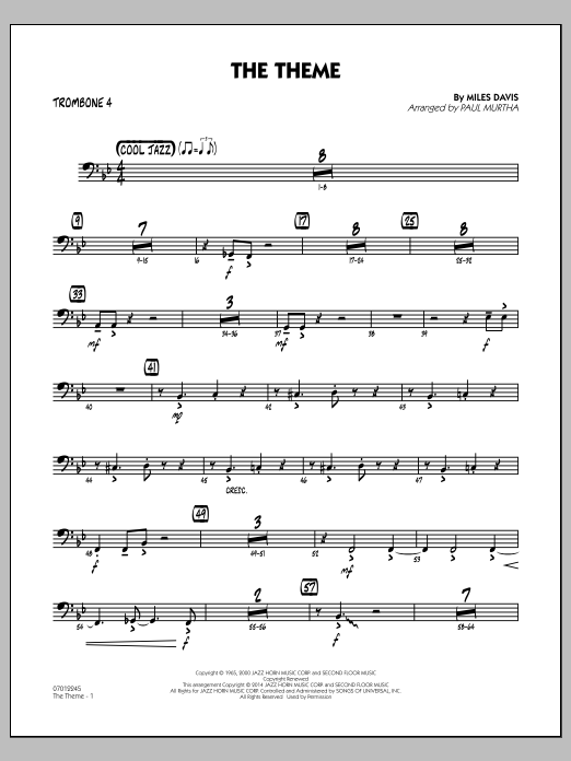 The Theme - Trombone 4 (Jazz Ensemble)