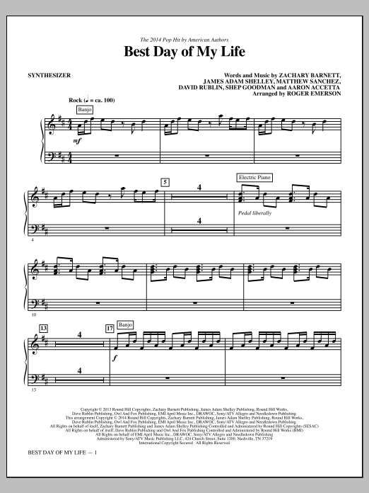 Best Day of My Life (complete set of parts) sheet music for orchestra/band by Roger Emerson, Aaron Accetta, American Authors, David Rublin, James Adam Shelley, Matthew Sanchez, Shep Goodman and Zachary Barnett. Score Image Preview.