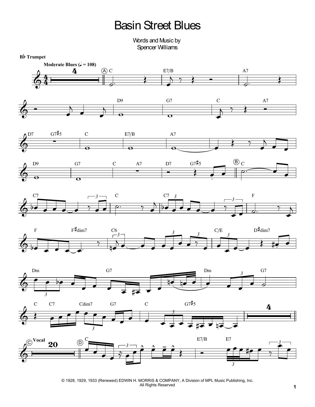 Basin Street Blues Sheet Music