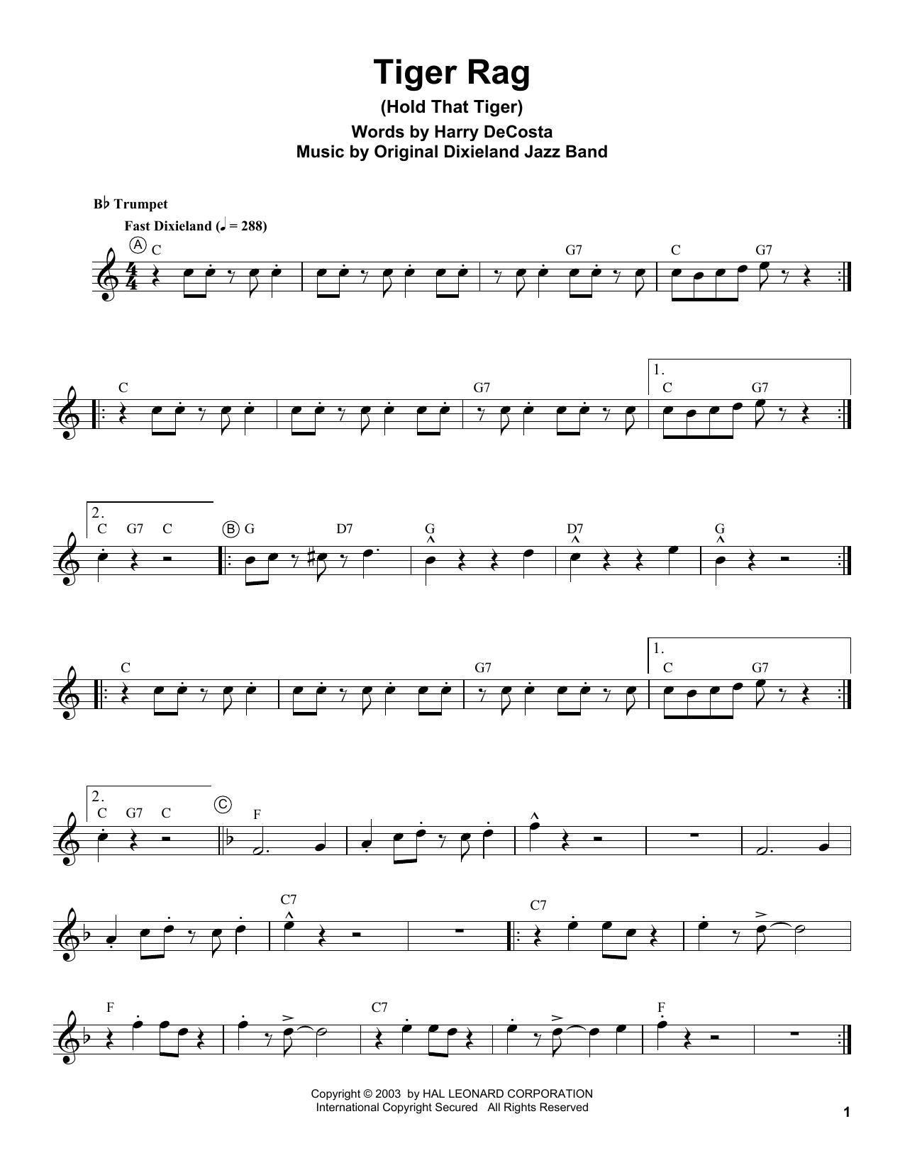Tiger Rag (Hold That Tiger) Sheet Music