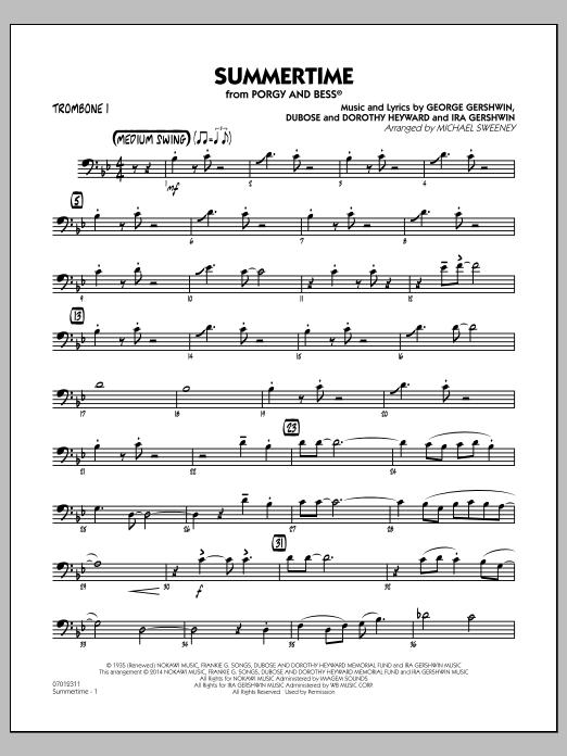 Summertime (from Porgy and Bess) - Trombone 1 (Jazz Ensemble)
