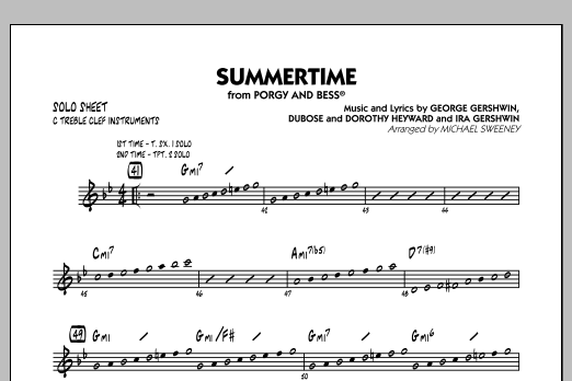 Summertime (from Porgy and Bess) - C Solo Sheet (Jazz Ensemble)