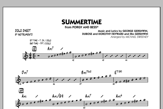 Summertime (from Porgy and Bess) - Bb Solo Sheet (Jazz Ensemble)