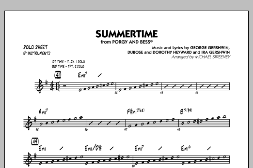 Summertime (from Porgy and Bess) - Eb Solo Sheet (Jazz Ensemble)