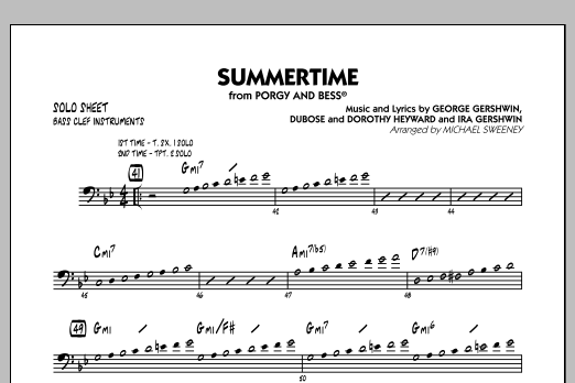 Summertime (from Porgy and Bess) - Bass Clef Solo Sheet (Jazz Ensemble)