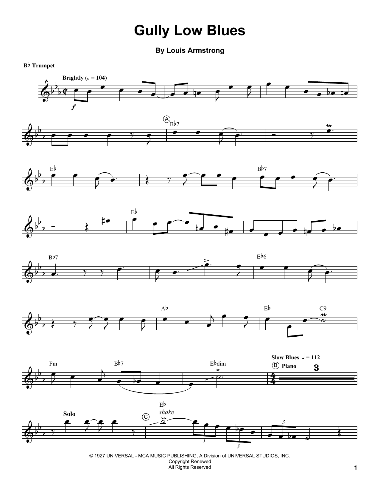 Gully Low Blues Sheet Music