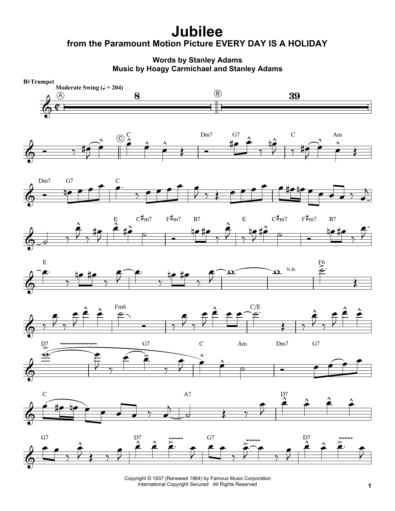 Jubilee (Trumpet Transcription)