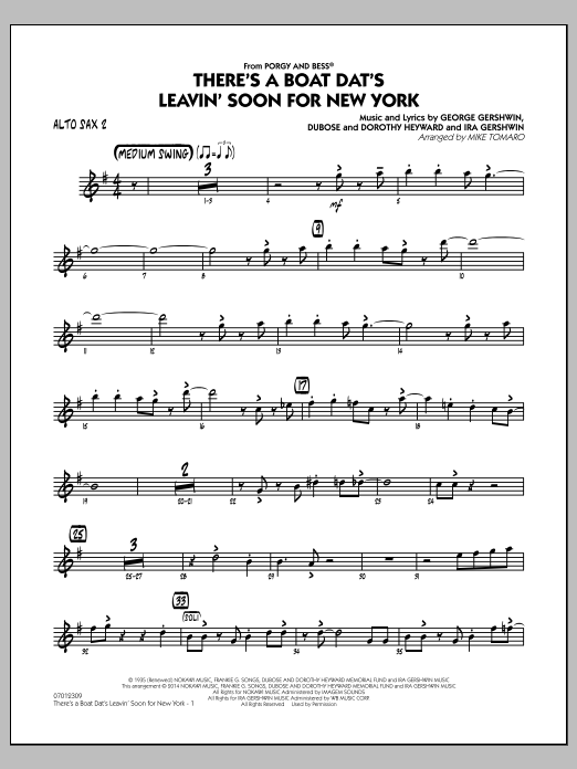 There's a Boat Dat's Leavin' Soon for New York (from Porgy & Bess) - Alto Sax 2 (Jazz Ensemble)