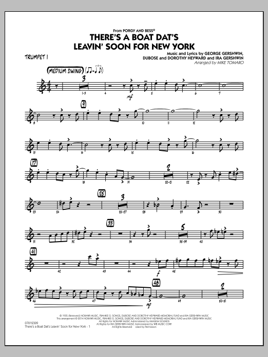 There's a Boat Dat's Leavin' Soon for New York (from Porgy & Bess) - Trumpet 1 (Jazz Ensemble)