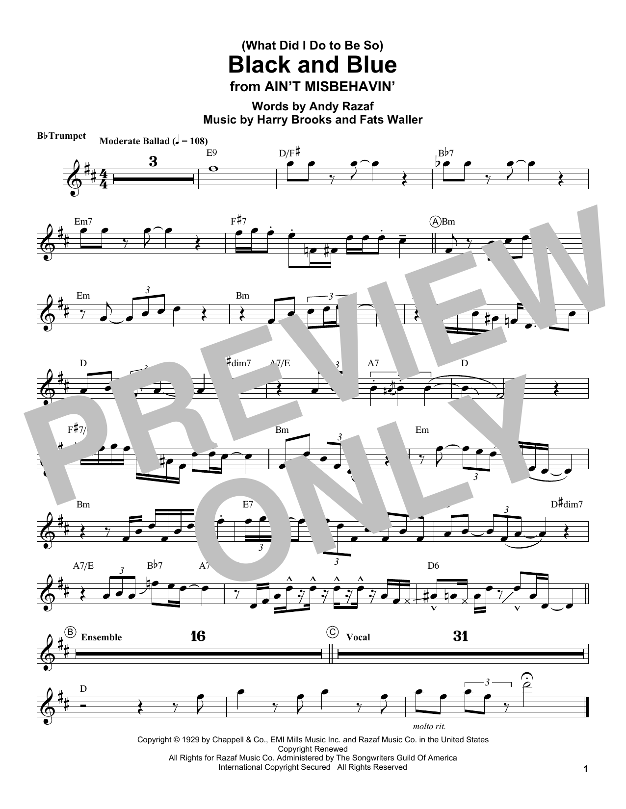 What Did I Do To Be So Black And Blue By Louis Armstrong Trumpet Transcription Digital Sheet Music