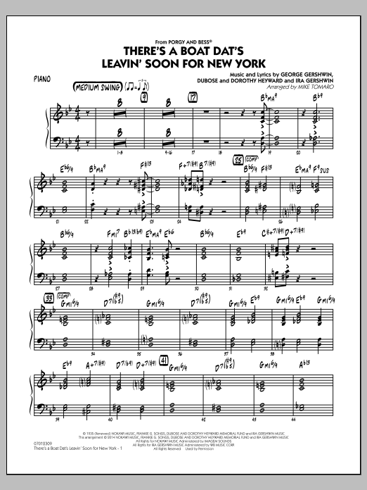 There's a Boat Dat's Leavin' Soon for New York (from Porgy & Bess) - Piano (Jazz Ensemble)
