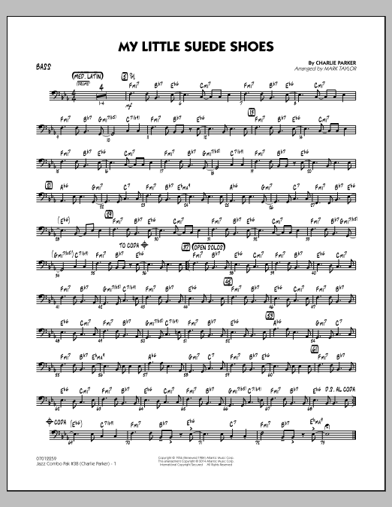 Jazz Combo Pak #38 (Charlie Parker) - Bass (Jazz Ensemble)